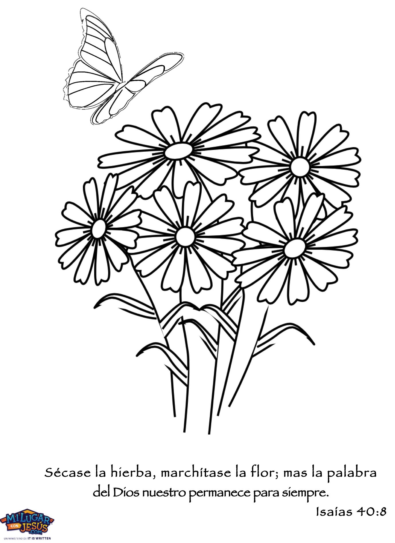 Descargar foto de flores para colorear